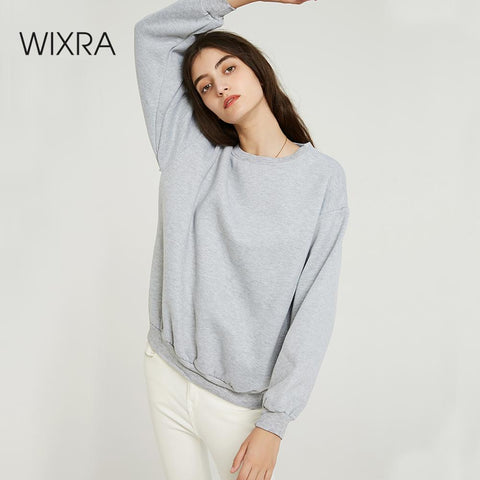 Wixra Women Basic Sweatshirts Solid Women Classic O Neck Long Sleeve 2019 Autumn Winter Velvet Loose Pullover Tops