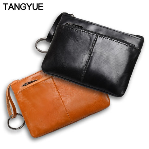 Mini Purse for Women Genuine Leather Zipper Vintage Short Lady Small Slim Female Women's Wallet Male Thin portomonee