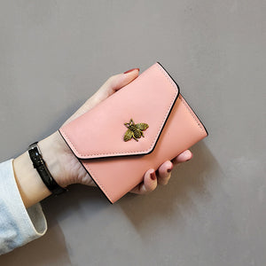Style Bees European And American Minimalist Women's Wallet Women's Short Three Fold Small Wallet Women's Purse Wallet Leather