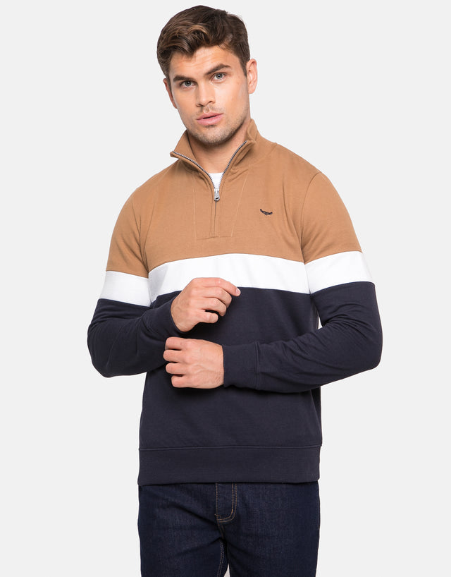 Ruben Zip Neck Sweatshirt Camel