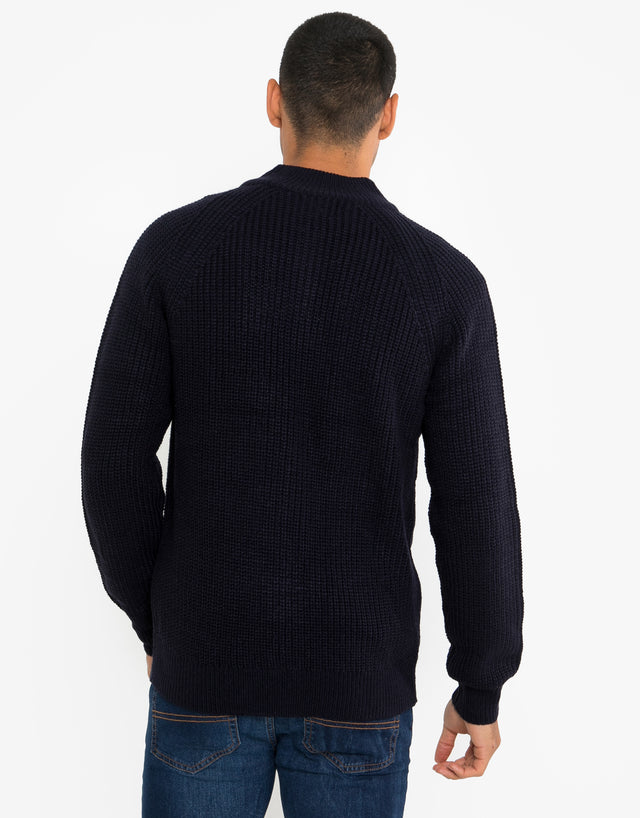 Samb Zip Through Cardigan With Wool Navy