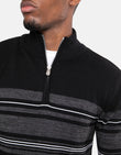 Arnall Cotton Zip Neck Jumper Black