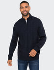Lanto Zip Neck Jumper With Wool Navy