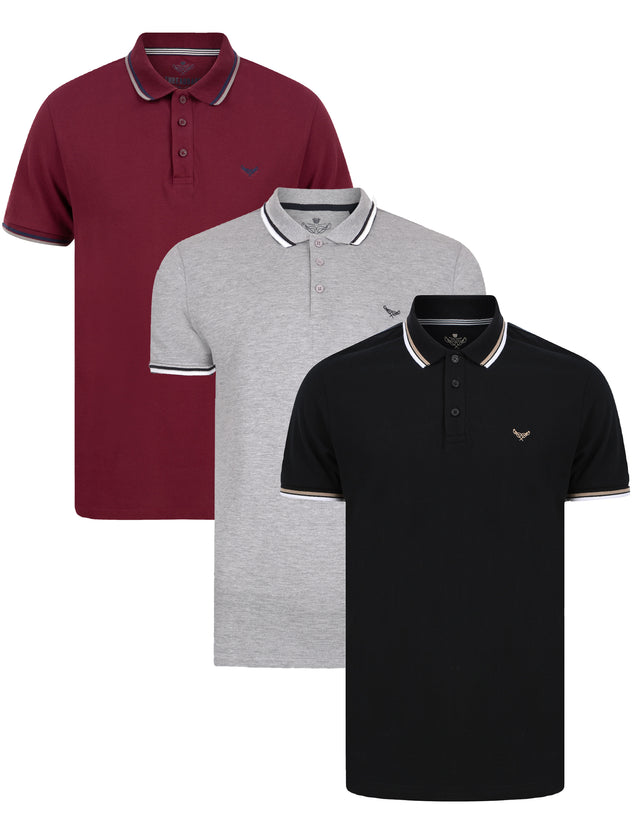 3 Pack Ouse Cotton Polo Shirts Navy