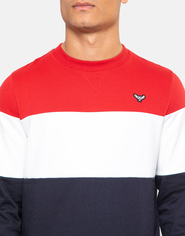 lennox colour block crew neck sweatshirt