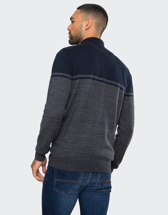 calahan cotton zip neck jumper