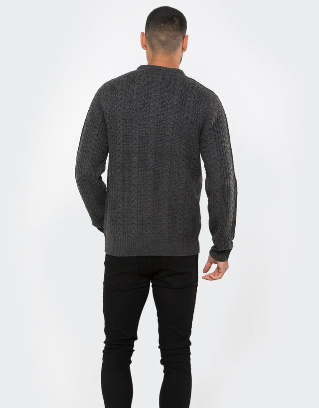 cale crew neck cable jumper