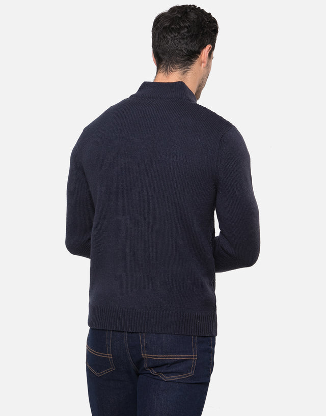 mellor button neck jumper with wool