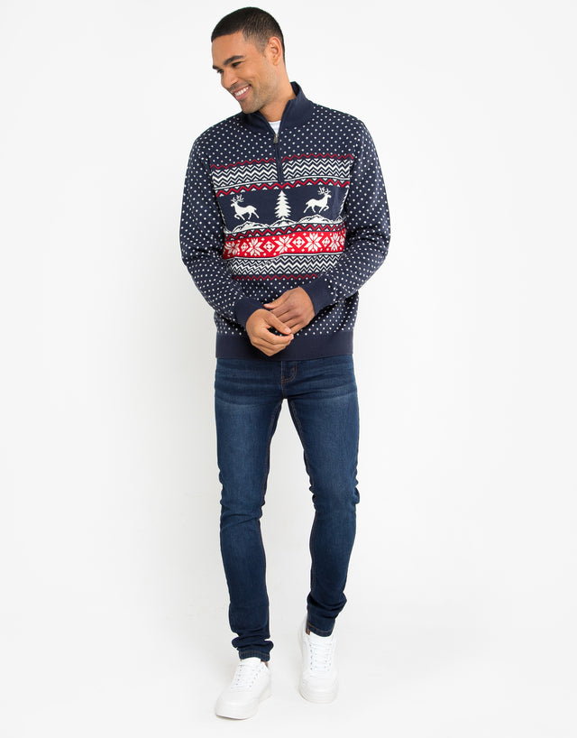 antler zip neck festive jumper
