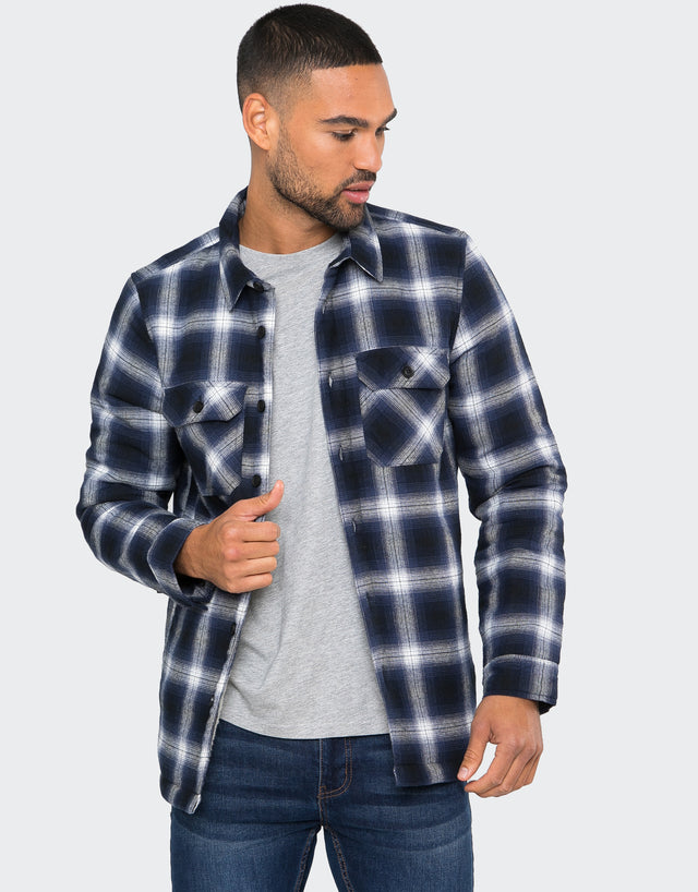 reims borg lined check overshirt