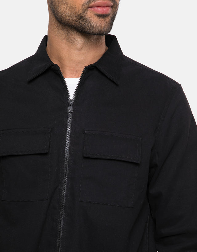 cosmo cotton zip up long sleeve shirt