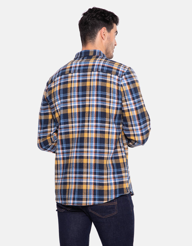 luther cotton long sleeve check shirt