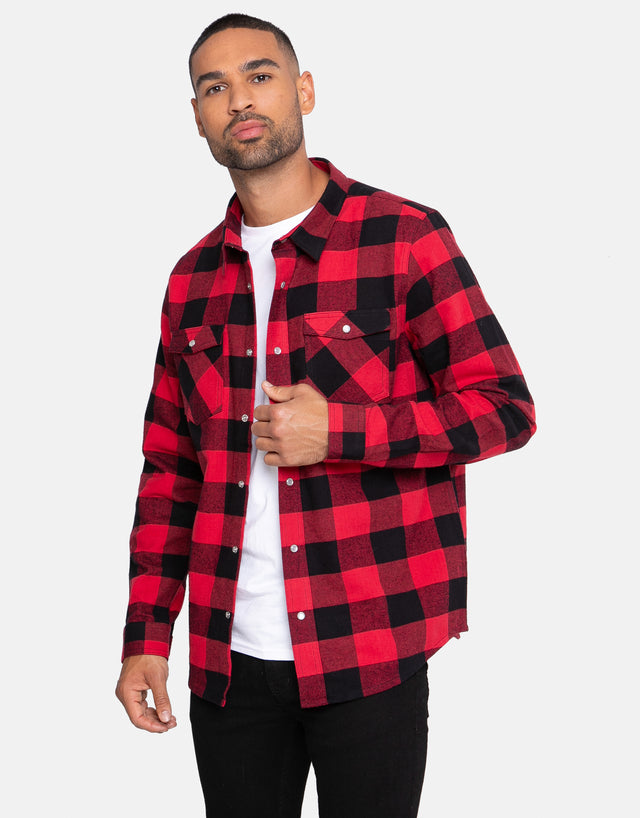 teo cotton long sleeve check shirt