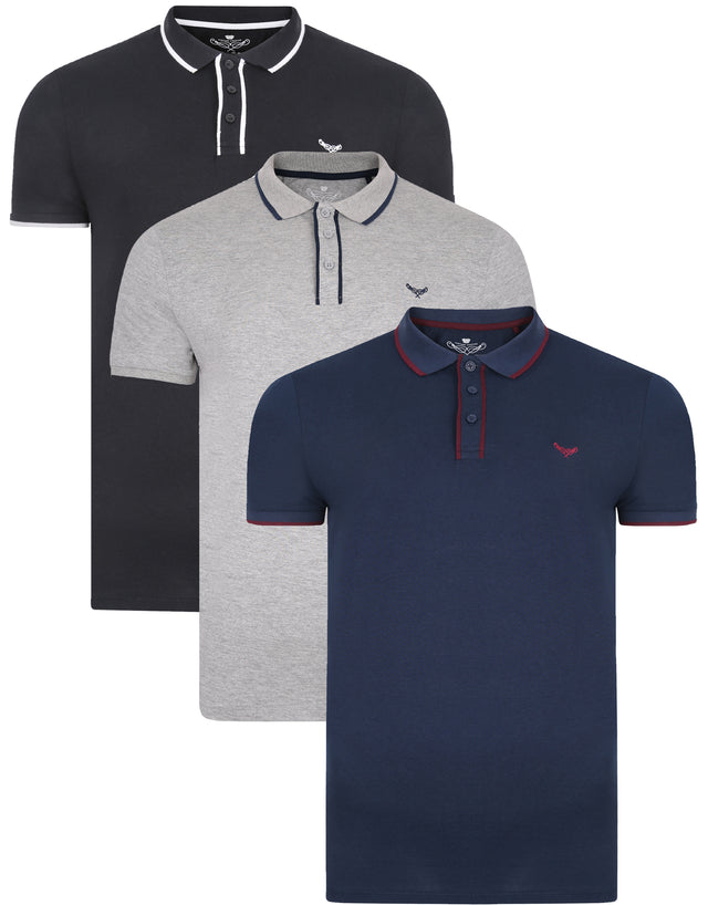 3 pack severn cotton polo shirts