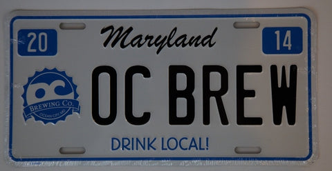 "OC Brewing Co. ""OC Brew"" Official License Plate"