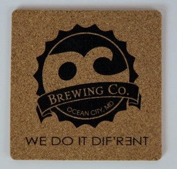 """Set of 4"" OC Brewing Co. 4 inch Square Natural Cork Drink Coasters"