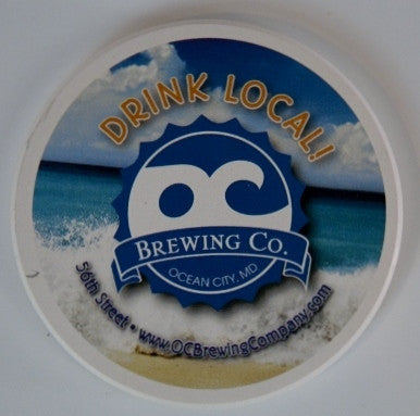 """Set of 4"" OC Brewing Co. 4 inch Round Stone Coasters."