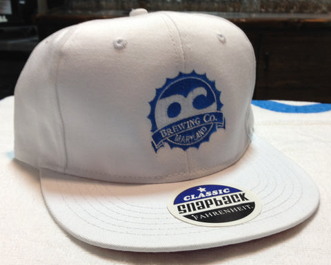 OC Brewing Co. Flat Bill Snap Back White Hat
