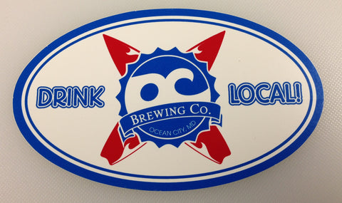 OC Brewing Co. Red Surf Board 3x5 Oval Sticker