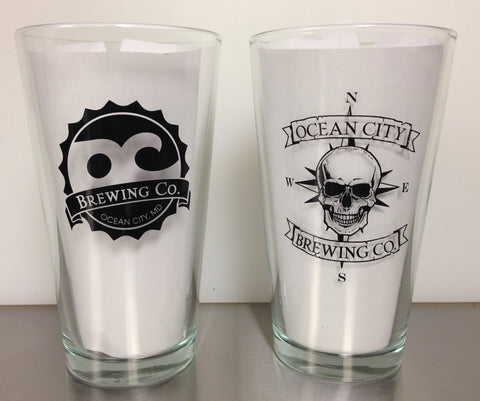 OC Brewing Co. Skull Rocker 16 oz. Pint Glass