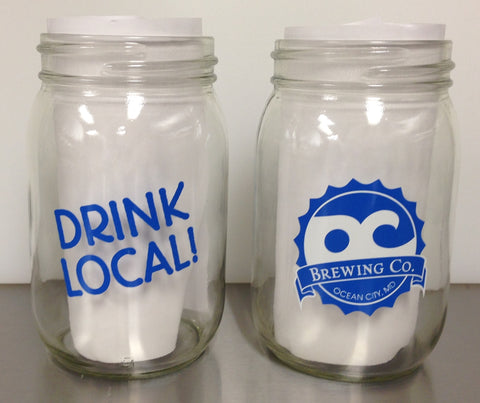 OC Brewing Co. Official Drink Local Mason Jar Glass