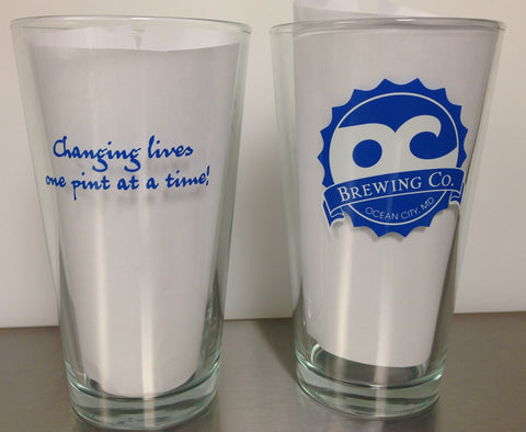 OC Brewing Co. CHANGING LIVES ONE PINT AT A TIME 16 oz. Pint Glass