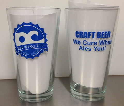 OC Brewing Co. WE CURE WHAT ALES YOU 16 oz. Pint Glass
