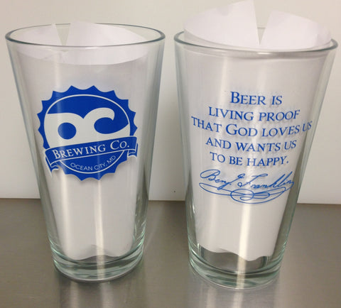 OC Brewing Co. BEN FRANKLIN 16 oz. Pint Glass
