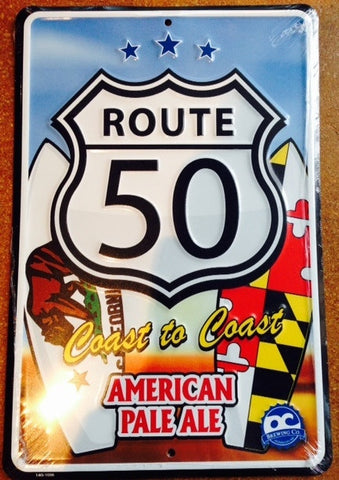 Route 50 American Pale Ale Embossed Metal/Tin Sign