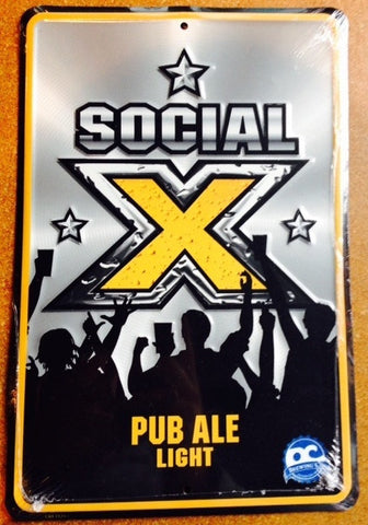 Social X Pub Ale Embossed Metal/Tin Sign