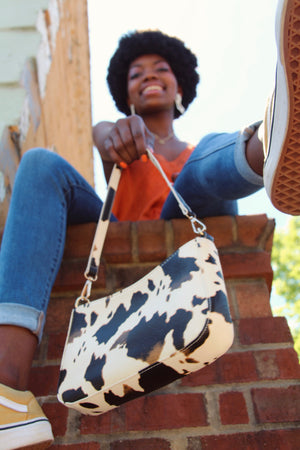 """Moo"" Cow print shoulder/crossbody purse"