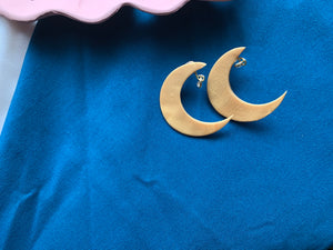 """Golden moon"" gold handmade moon earrings"