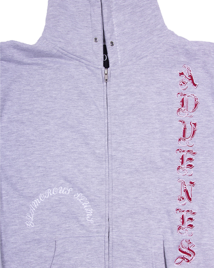 (CHERRY RED FONT) GREY FRAME ZIP-UP