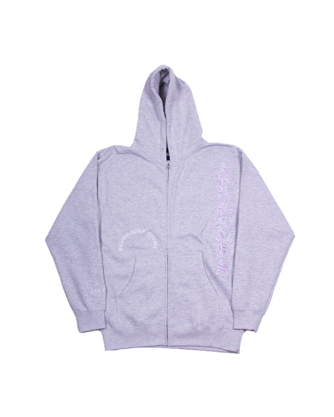 (PURPLE FONT) GREY FRAME ZIP-UP