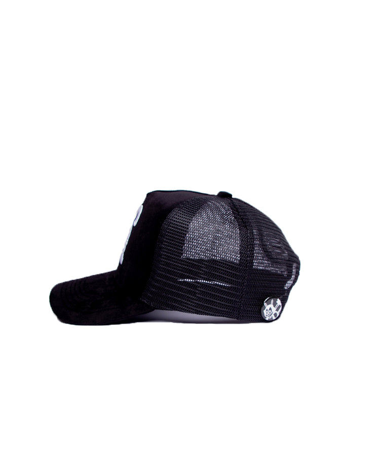 BLACK VELVET FABRIC TRUCKER CAPS