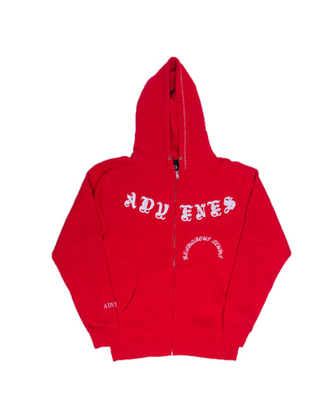 (WHITE FONT) RED FRAME ZIP-UP