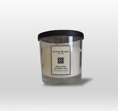 Olivia Blake Wild Mint & White Tea Fragranced Tall 3 Wick Candle