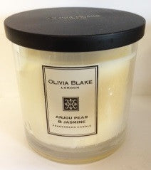 Olivia Blake Anjour Pear & Jasmine Fragranced Tall  3 Wick  Candle