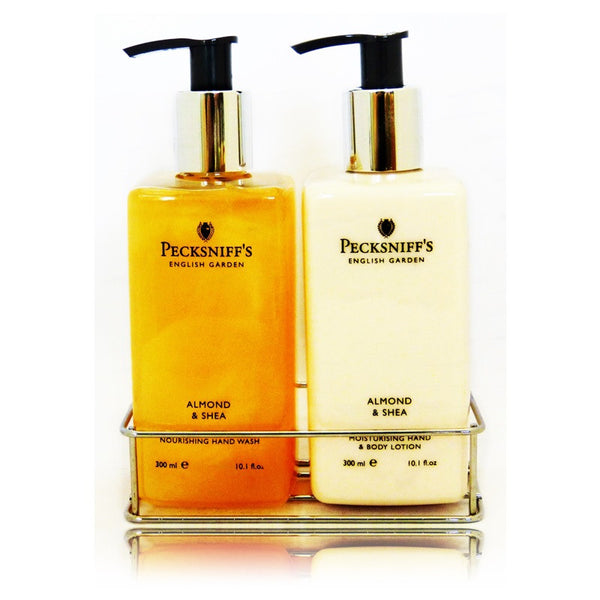 Pecksniff 39 s almond and shea caddy 300ml the british Hand wash and lotion caddy