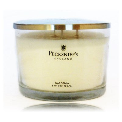 Pecksniff's Gardenia & White Peach Fragranced 3 Wick Candle 315g