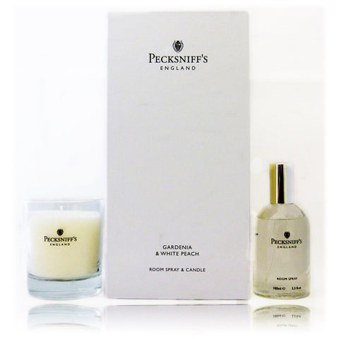 Pecksniff's Gardenia & White Peach Duo Room Spray and Candle