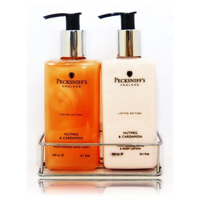 Pecksniffs nutmeg cardamon caddy 300ml the british Hand wash and lotion caddy