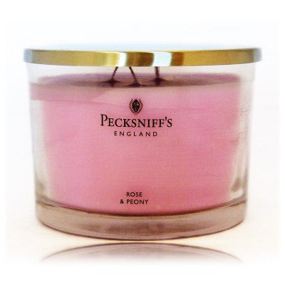 Pecksniffs Rose & Peony Fragranced Short 3 Wick Candle