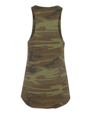 """FKN SNDR"" Women's Racerback Eco-Tank Top (Green Camouflage)"