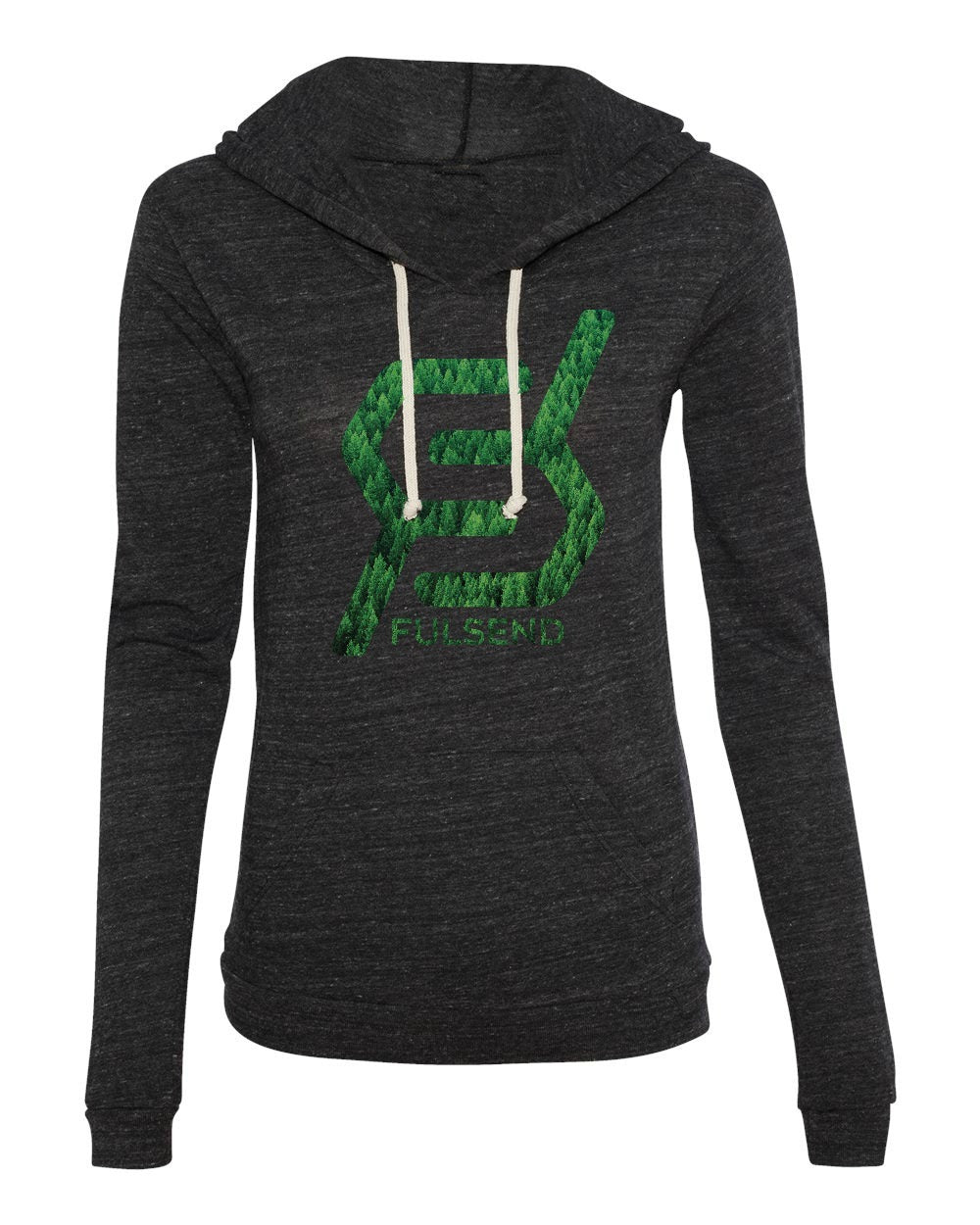 """TREES, TREES, TREES"" Women's Eco-Hoodie (Heather Black)"
