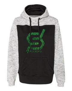 """TREES, TREES, TREES"" Scuba Neck Hoodie (Black/Heather White)"