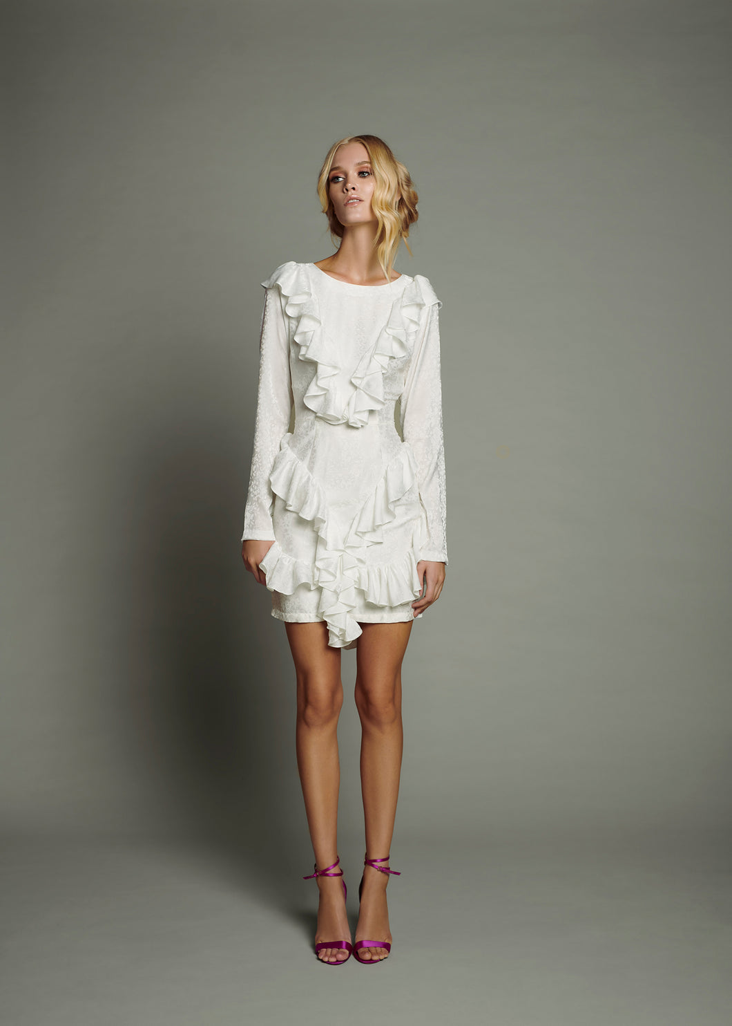 White Silk Jacquard Overlay Mini Dress