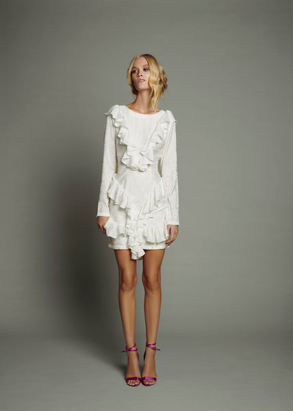 White Silk Jacquard Overlay Dress