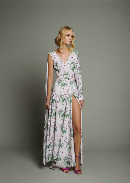 Orchid Print 1 Draped Sleeve Maxi Dress