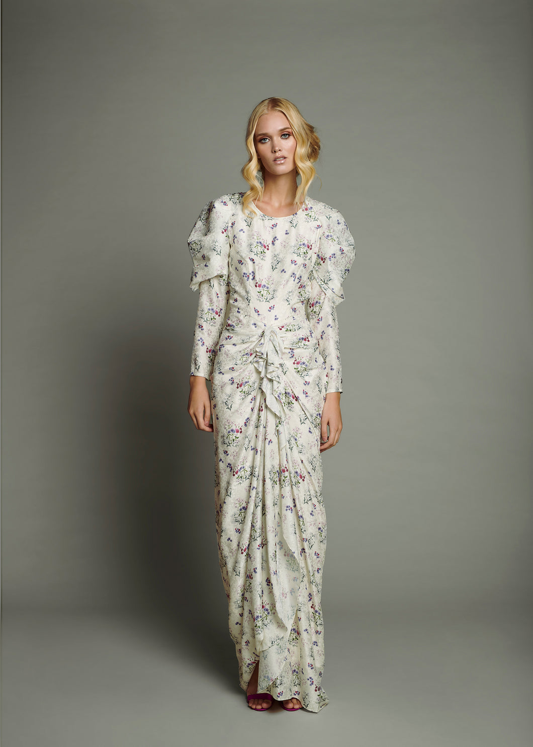 White Jacquard Front Draped and Long Bubble Sleeve Printed Dress